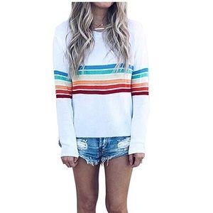 NEW Amazon white rainbow striped sweater